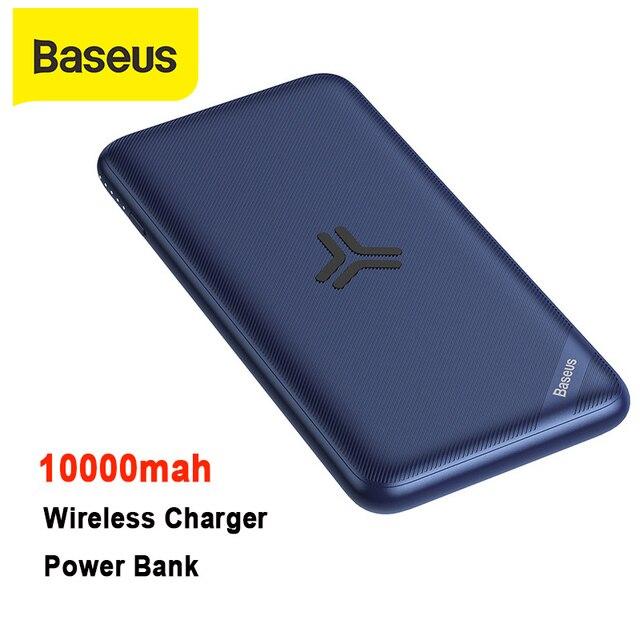 BASEUS 10000 mAh Power Bank ความจุสูง Wireless Charger Powerbank PD3.0 QC3.0 Fast ชาร์จแบบพกพาภายนอกแบตเตอรี่ Charger