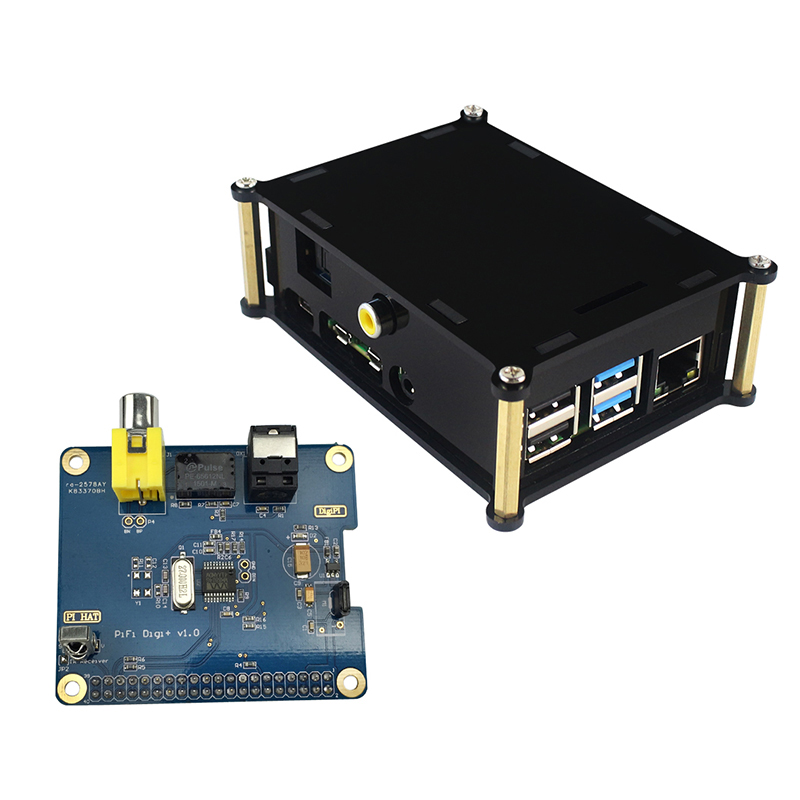 Raspberry Pi 4 Model B Digital Audio Sound Card I2S Interface HIFI DIGI Expansion Board + Acrylic Box Shell For Raspberry Pi 4
