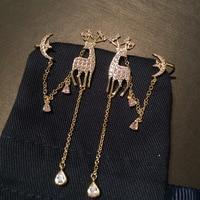 S925 Silver Needle Christmas Deer Long Tassels Earrings Pink Star Moon Ear Clamp Dual Purpose fashion Earrings