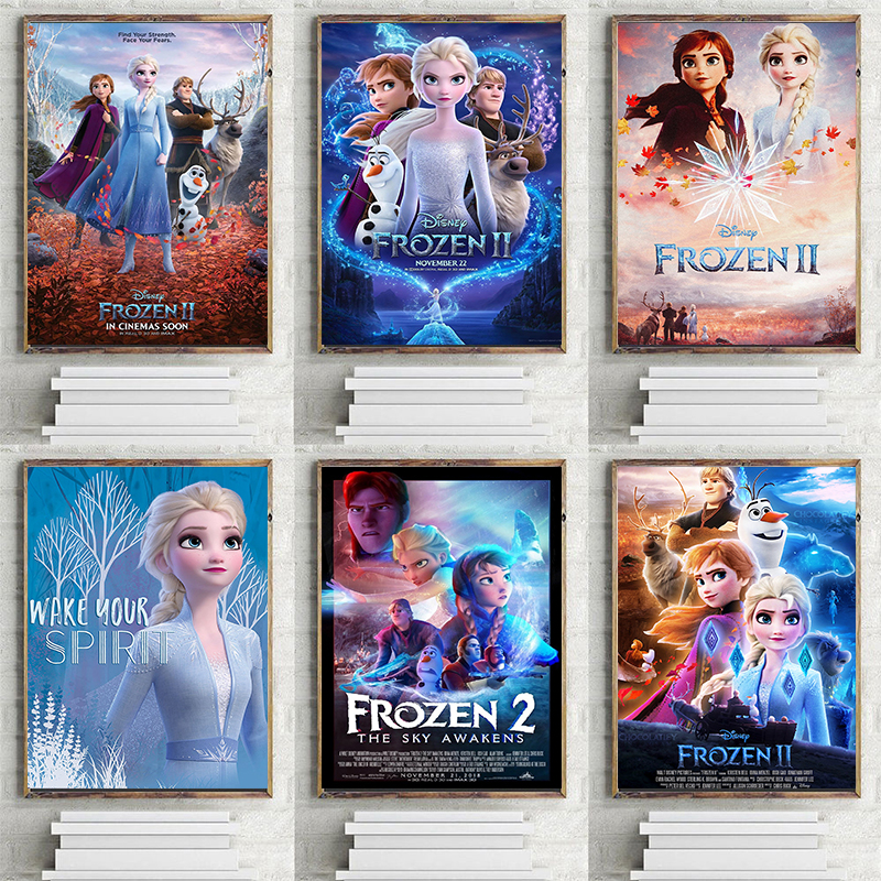 New Frozen 2 Posters And Prints Popular Cartoon Movie Wall Decor Bedroom Living Room Children Room Art Painting