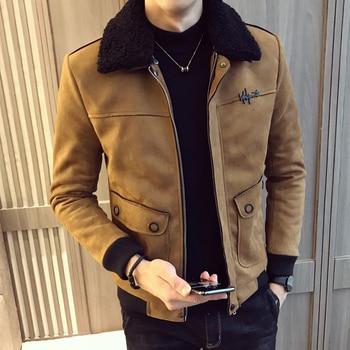 2019 Winter Jacket Men Suede Thicken Outwear Casual Slim Fit Coats Deerskin Bomber Homme Fur