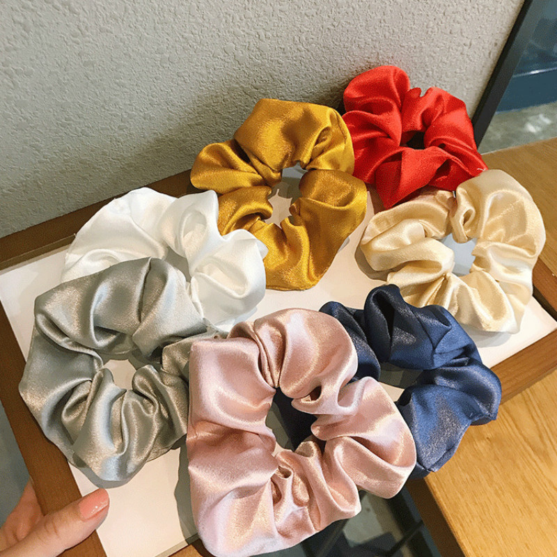 Fashion Satin Hair Bands For Women Solid Hair Ties Girl Head Scrunchie