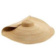 Novo verão oversize praia chapéus para mulher 25cm borda grande palha chapéu de proteção solar moda festa de viagem chapéu dropshipping