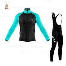 цена на Cycling Jersey 2019 Team Winter Thermal Fleece Men's Long Sleeve Cycling Jersey Set MTB Outdoor Bike Bib Pants Cycling Clothing