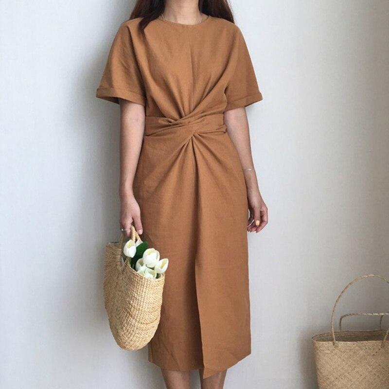 Повседневное свободное платье, элегантное женское платье с коротким рукавом и круглым вырезом, платье до середины икры с разрезом спереди