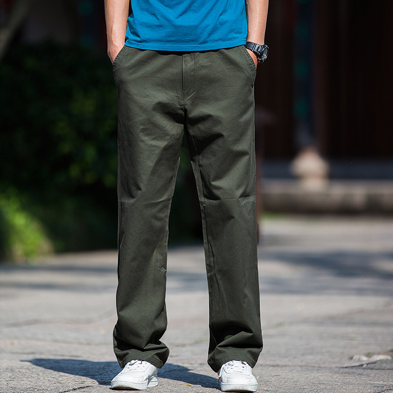 Spring Clothing Thick-Trousers Pure Cotton Casual Pants Men's Loose Straight Large Size Men's Trousers Plus-sized Fat Bib Overal