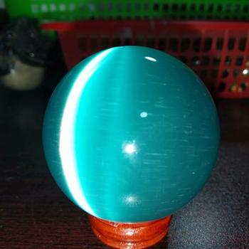 ¡Oferta! ¡Increíble! Esfera de cristal de ojo de gato de cristal azul de cuarzo asiático de 50mm, 1 unidad, para regalos