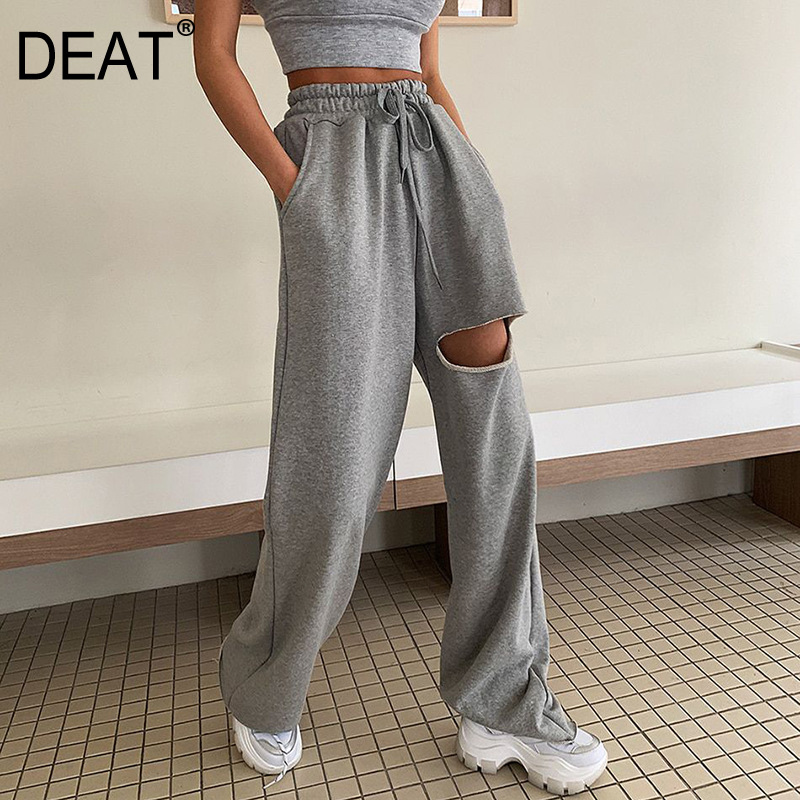 DEAT 2020 New High Waist Rope Pulling Knee Broken Full Length Gray Color Straight Pants Female Summer And Autumn Home Wear WL763