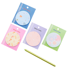 1pack/lot Korea Creative Stationery Cute Round Torn Note Pad Post-it Four Selections Self Adhesive Memo