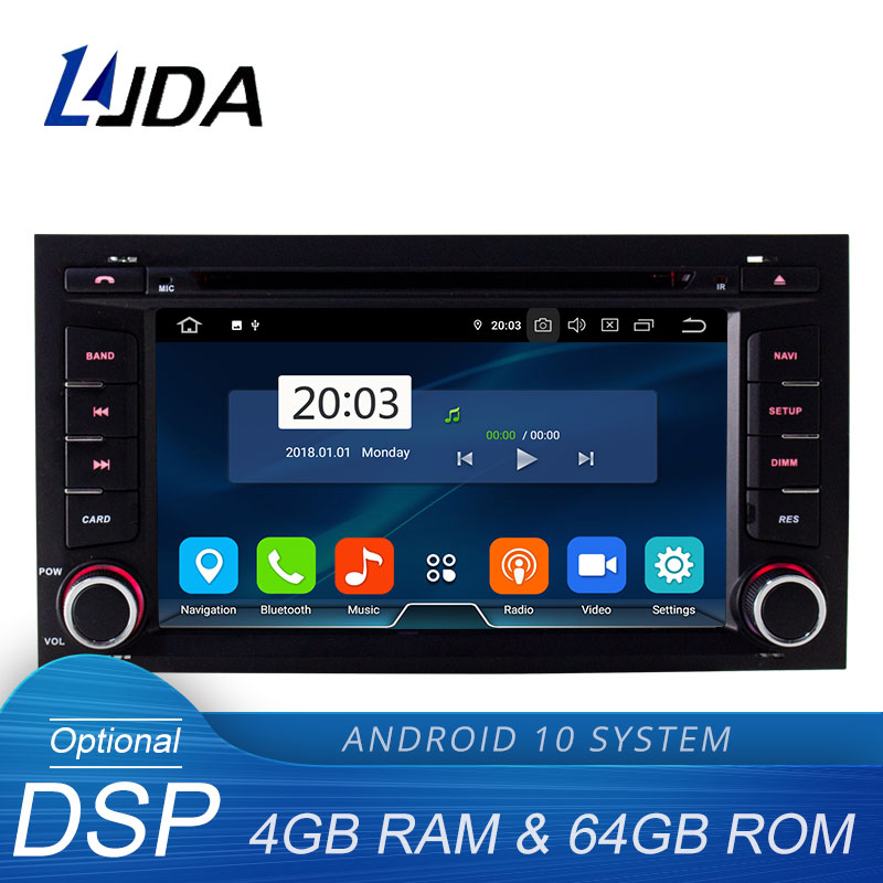 LJDA Android 10.0 Car DVD Player For Seat Leon 2014 2015 2016 2017 Multimedia GPS Stereo 1 Din Car Radio DSP 4G+64G Auto Audio image