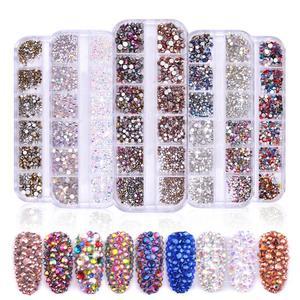 12 Grids/box Nails Art Decorations Colorful Crystal Rhinestones Nail 3D Shiny Back Nail Art Art Flat Nail Acrylic Tips Ston E8Y2(China)