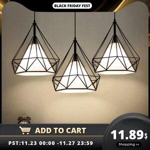 Image 1 - מודרני תליון אור שחור ברזל תליית כלוב בציר Led מנורת E27 תעשייתי לופט רטרו אוכל חדר מסעדה בר דלפק