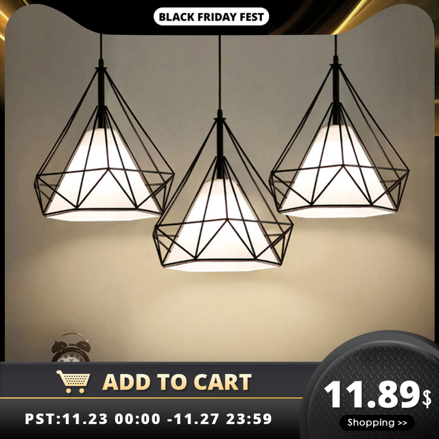מודרני תליון אור שחור ברזל תליית כלוב בציר Led מנורת E27 תעשייתי לופט רטרו אוכל חדר מסעדה בר דלפק