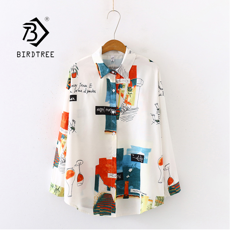 New Arrival Retro Graffiti Print Oversize Turn-Down Collar Chiffon Blouse Button Up Casual Loose Shirt Feminina Blusa T99009F
