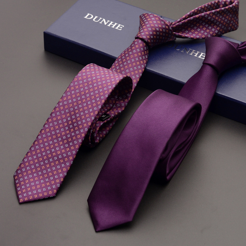 2019 High Quality Mens Ties Designers Brands New Fashion Business 5cm Slim Purple Tie For Men Formal Necktie With Gift BOX
