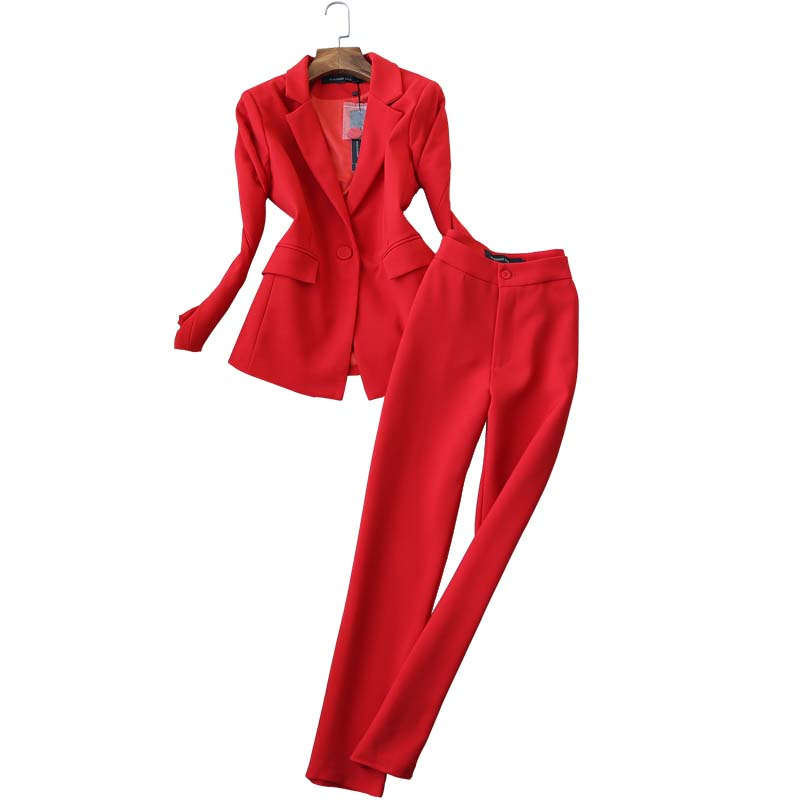 Women's Trousers Set Two-piece High Quality 2019 New Autumn Korean Slim Ladies Red Jacket Small Suit Casual Office Pants Suit