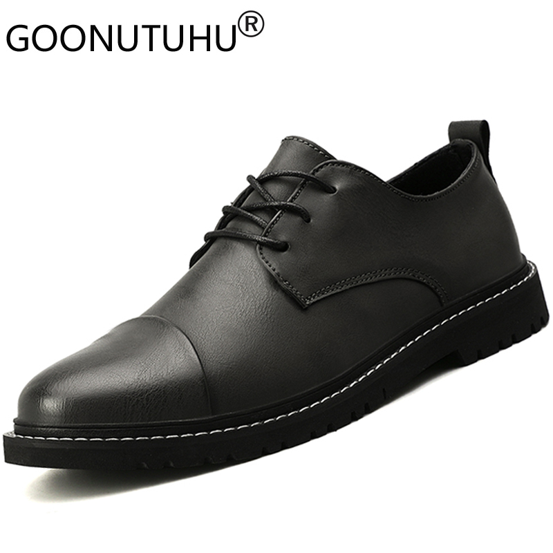Hot Sale 2020 style fashion men's shoes casual leather classics gray brown black lace up shoe man nice comfortable driving shoes for men