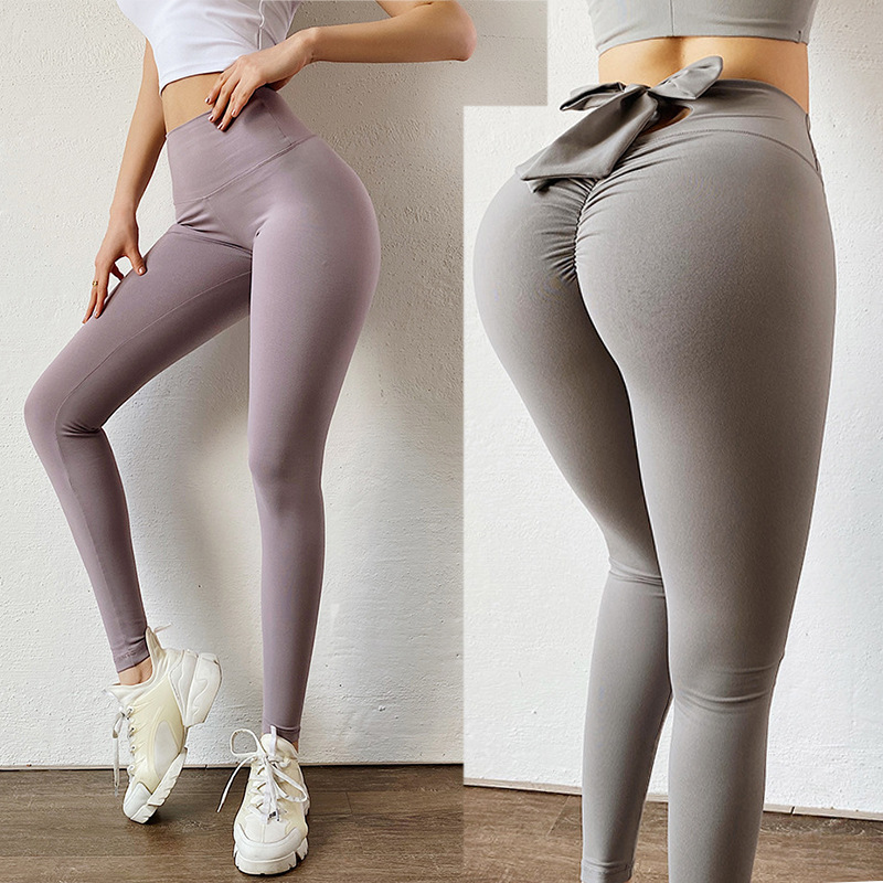 Peach Bow Hip Lifting Sports Pants Tights Women's European and American Yoga Pants Running Elastic Fitness Pants
