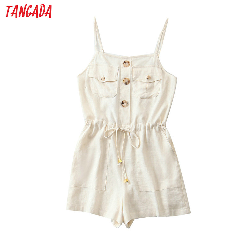 Tangada Fashion Women Cotton Linen Beige Playsuit For Summer 2020 Vintage Female Beach Playsuit QB140