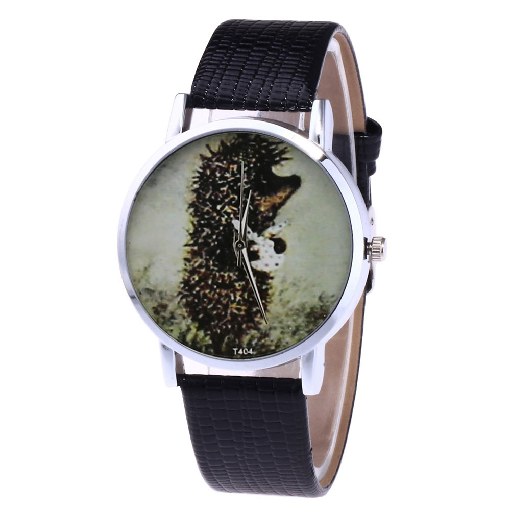 Cartoon Quartz Watch Women Faux Leather Strap Round Dial Watch Couple Watches  LL@17