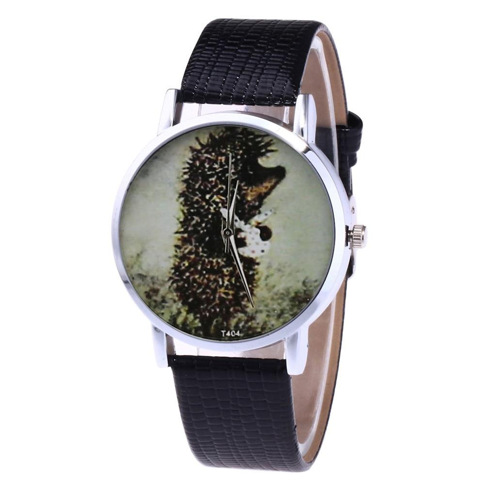 Cartoon Quartz Watch Women Faux Leather Strap Round Dial Watch Couple Watches  LL@17