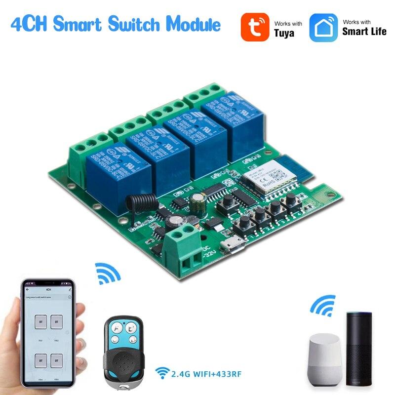 4CH WiFi светильник Tuya модуль автоматического включения света Беспроводной реле приложение Smart Life дистанционного Управление таймер работать с...