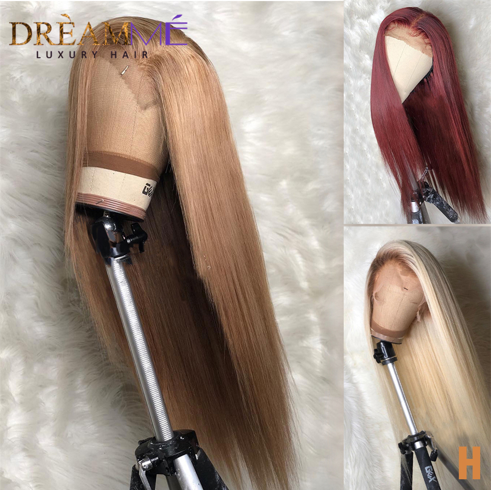 Blonde Straight Lace Front Human Hair Wig Preplucked 13X6 Deep Part Lace Human Wigs Brazilian Remy Blond Wigs 150% Density