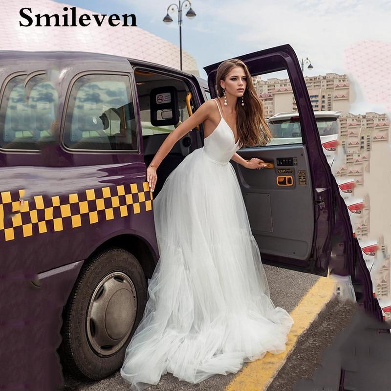 Lace Boho Wedding Dresses 2020 Spaghetti Straps V-neck Beach Bride Dress Wedding Gowns With Detachable Shawl Vestido De Noiva