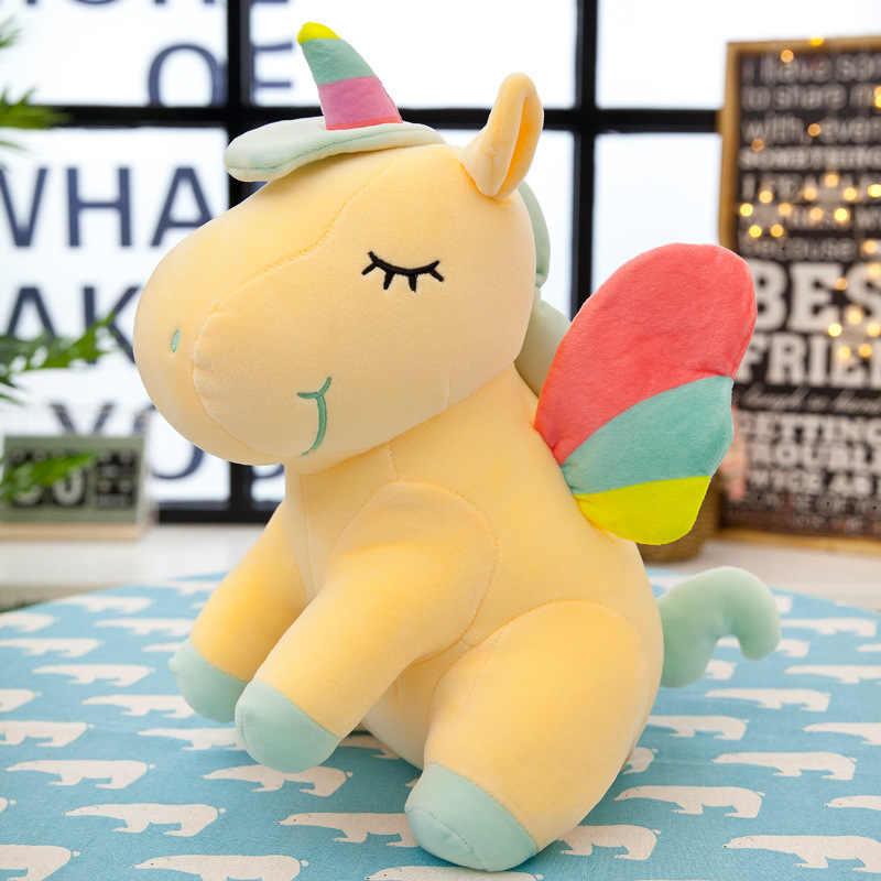 20CM Neue Weiche Nette Regenbogen Stil Einhorn Spielzeug Plüsch Spielzeug Flügel Engel Tiere Pferd Kinder Spielzeug Baby Puppen Geburtstag geschenke