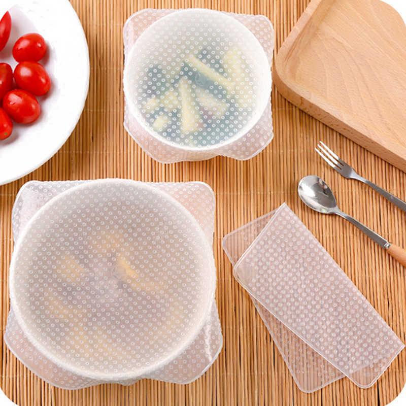 Silikon Makanan Bungkus Penutup Segel Dapat Digunakan Kembali Peregangan dan Makanan Segar Membungkus Pan Bowl Cup Hidangan Penutup Segel Tatakan Alat Dapur