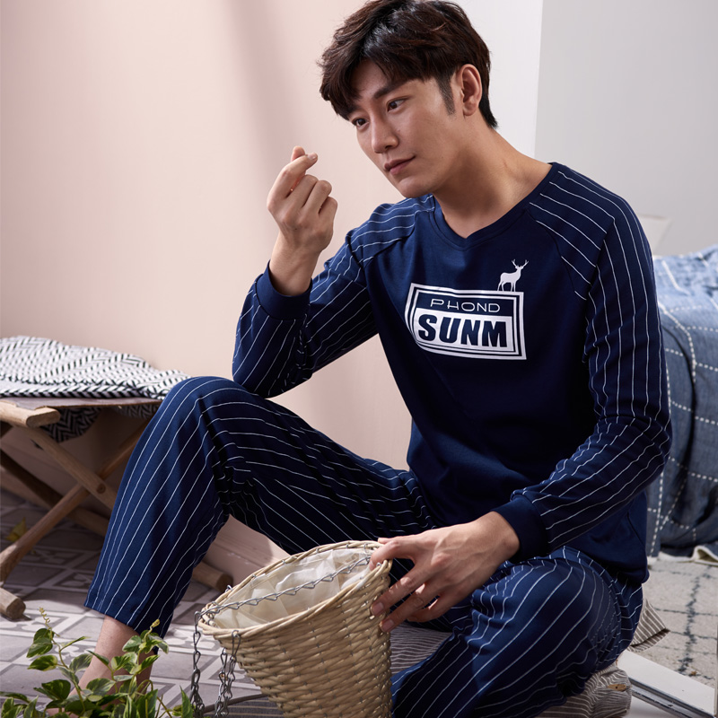 Autumn 100% Cotton Men's Pyjamas Couple Pajamas Set Casual Sleepwear Masculine Pyjamas Nightgowns Pijamas Size 3XL Home Clothing