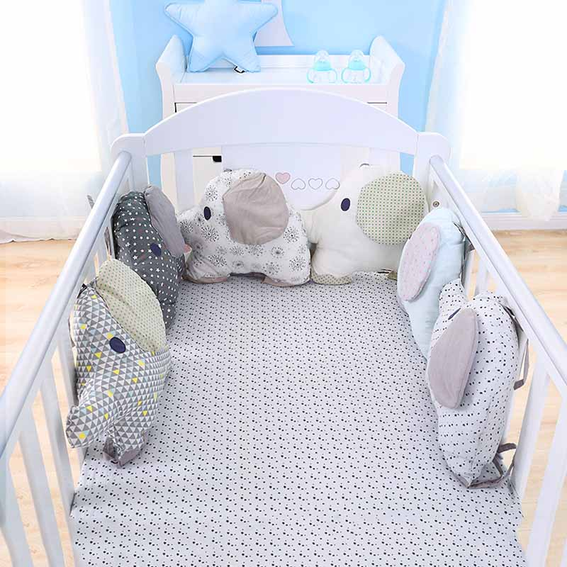 6Pcs/Set Baby Bed Bumper Cartoon Elephant Baby Room Decor Cot Bumper Cradle Protector Back Cushion Toddler Bed Bedding Set