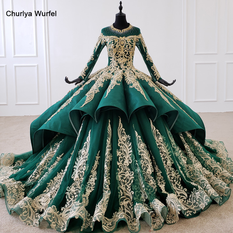 HTL1099 Luxury green evening dress long sleeve appliques beads ball gown lace arabic evening dress plus size vestidos elegantesEvening Dresses   -