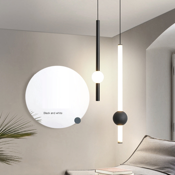 Novel Contracted Long Tube Pendant Light for Bar Coffee Shop Office Black White Acrylic Sconces Bedside Pendant Lights Indoor