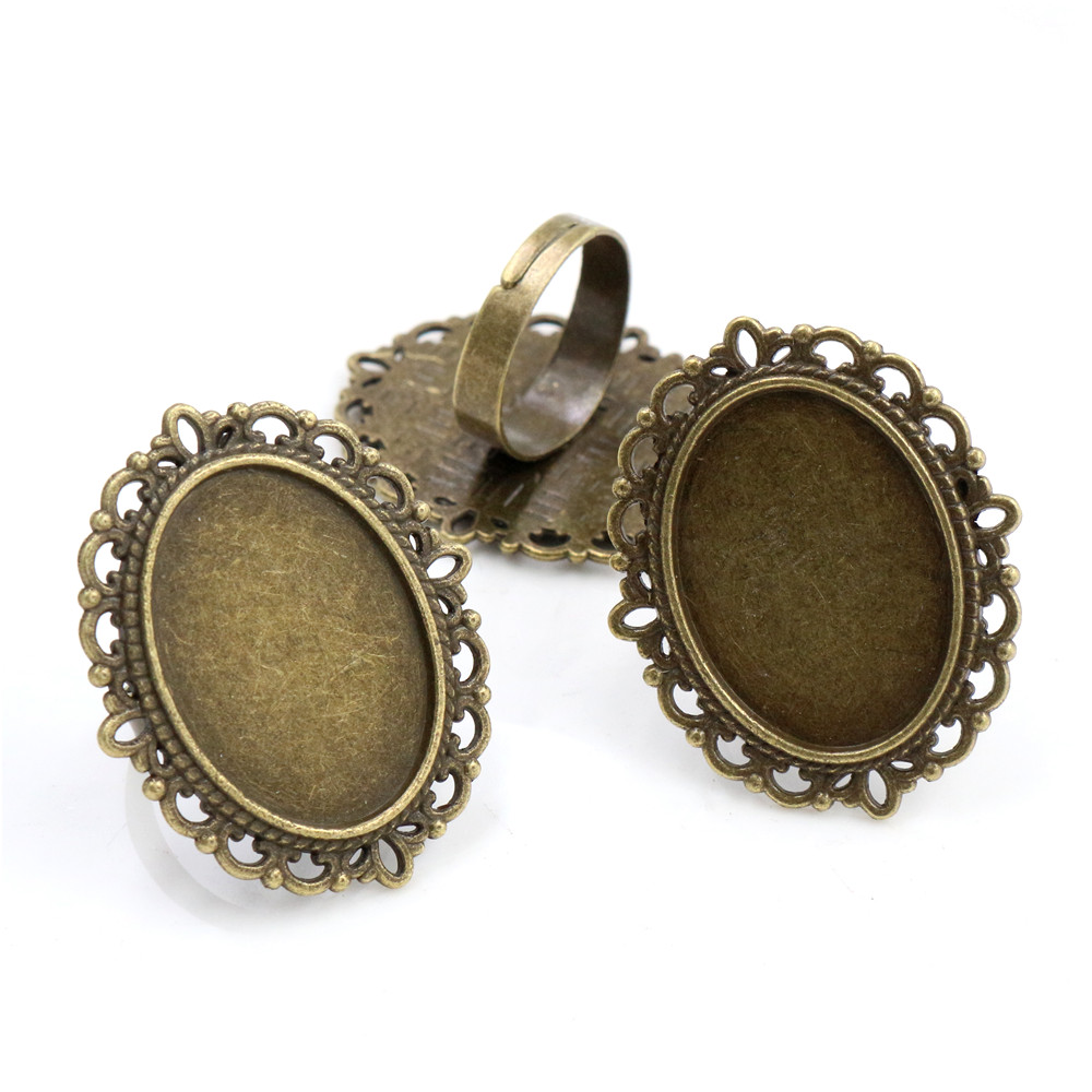 18x25mm 5pcs Antique Bronze Plated Brass Oval Adjustable Ring Settings Blank/Base,Fit 18x25mm Glass Cabochons J3-01