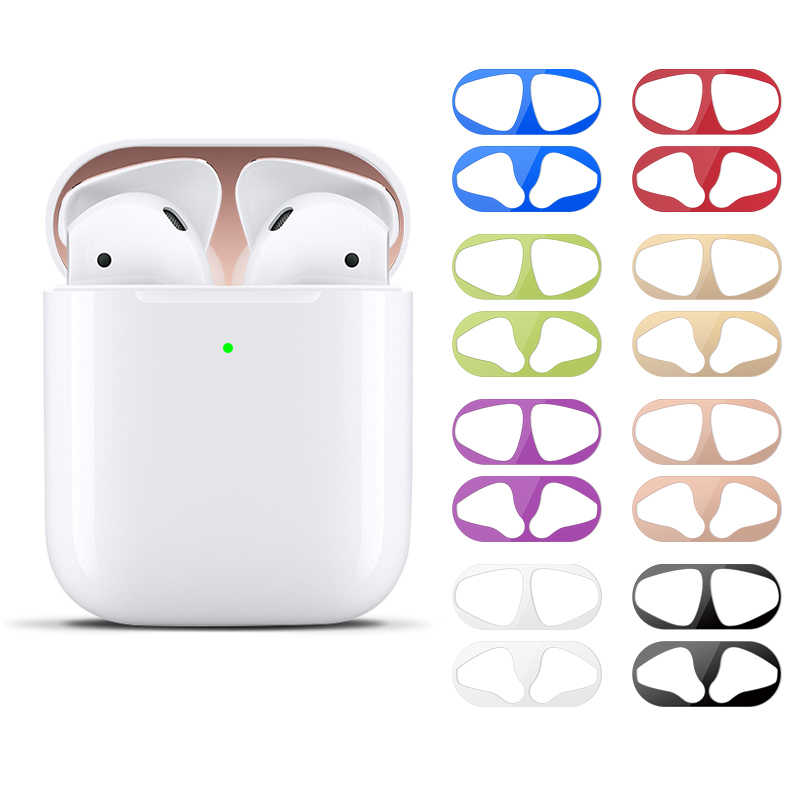 Metal Dust Guard Sticker For Airpods 2 Skin Protective Sticker For Apple Airpods 2 Earphone box Case Scratchproof Stickers