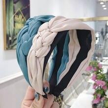 Bandeau tressé à larges bords en Satin pour femmes, 4cm de large, couleur unie, accessoires pour cheveux doux coréens