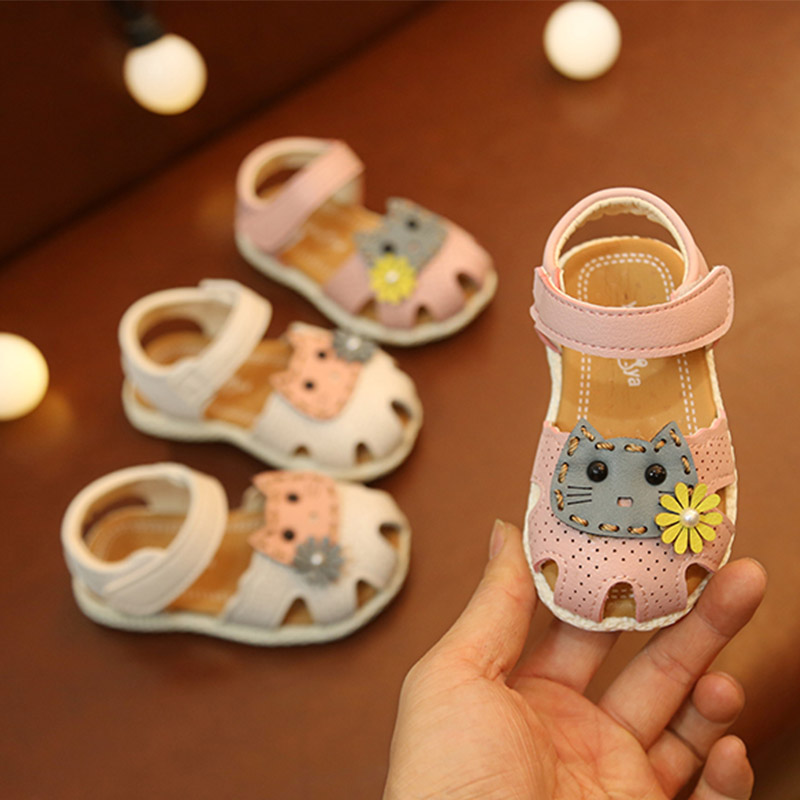 Baby Girls Shoes Floral Princess Sandals Cartoon Flat Non-Slip Soft Sole Sneakers Newborn Infant Shoes