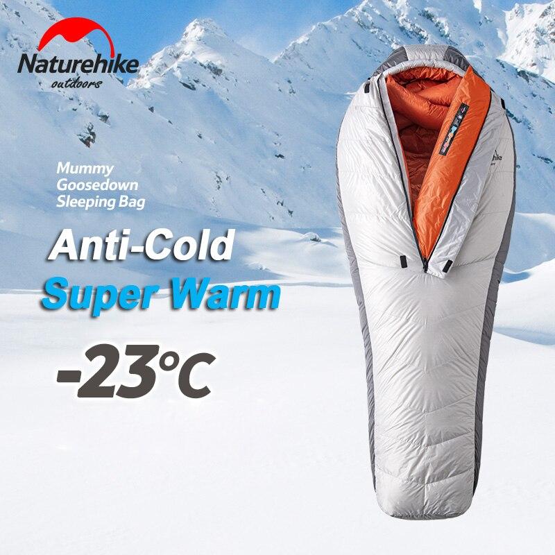 Пуховый спальный мешок для зимы сверхлегкий взрослый Мумия 95% белый гусиный пух спальный мешок компрессионный пакет для альпинизма кемпинг