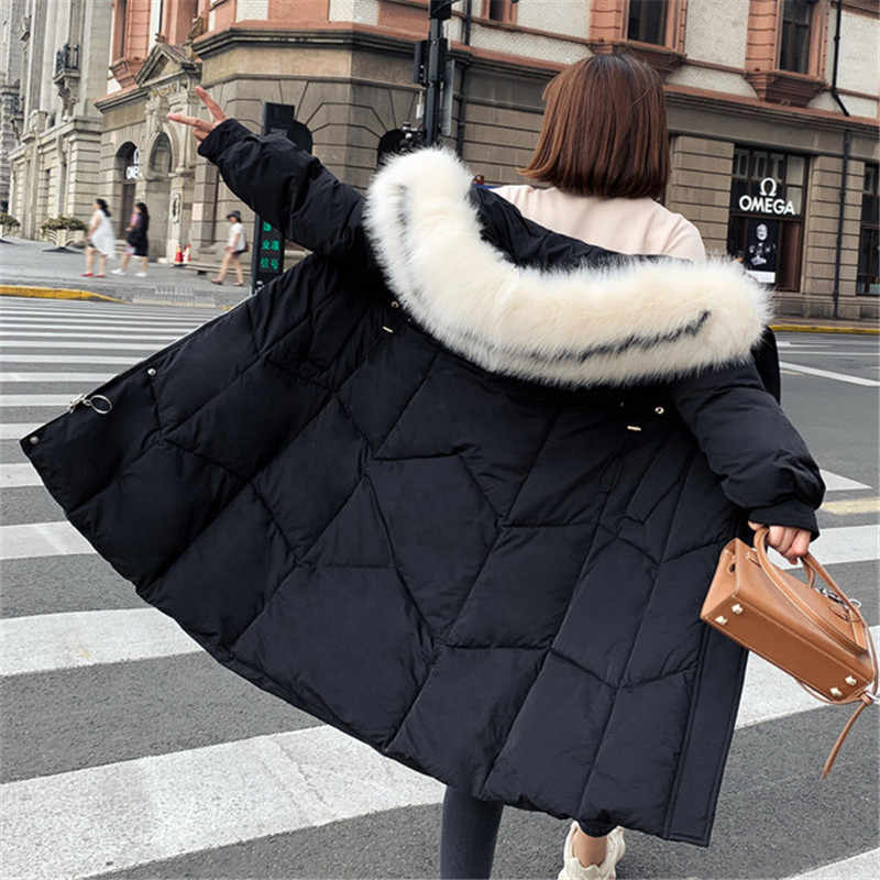 2019 Nieuwe Korea Herfst Winter Donsjack vrouwen Parka Lange sectie Bontkraag Capuchon Losse Katoenen Jas Bovenkleding XA103