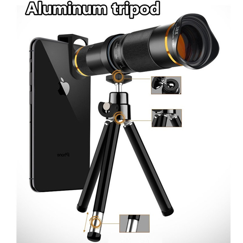 38X Telephoto Lens HD Monocular Telescope Phone Camera Lens for iPhone Android Cellphone Smartphone Mobile Len With Mini Tripod