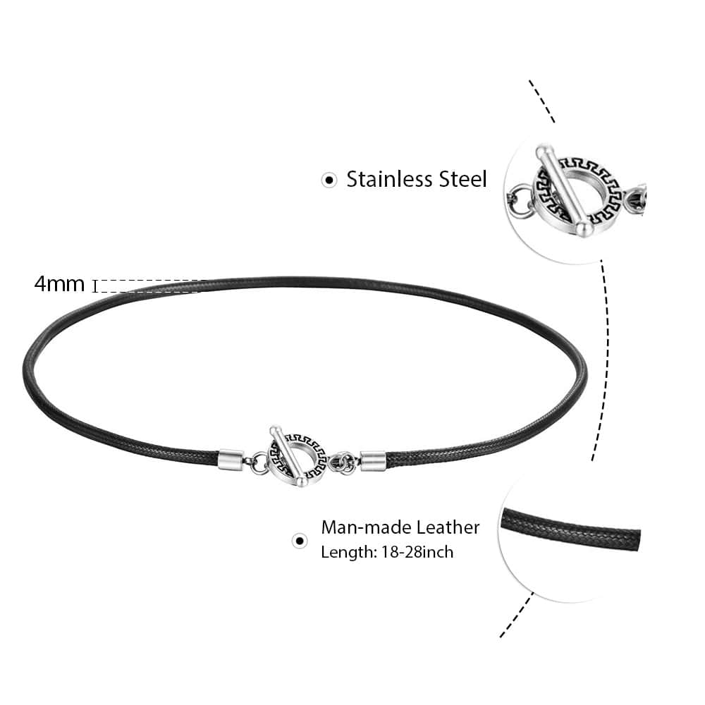 4mm Thin Simple Black Man Made Leather Necklace for Men Braided Rope Chocker Unique Toggle Clasp Fashion Gift Jewelry DN128