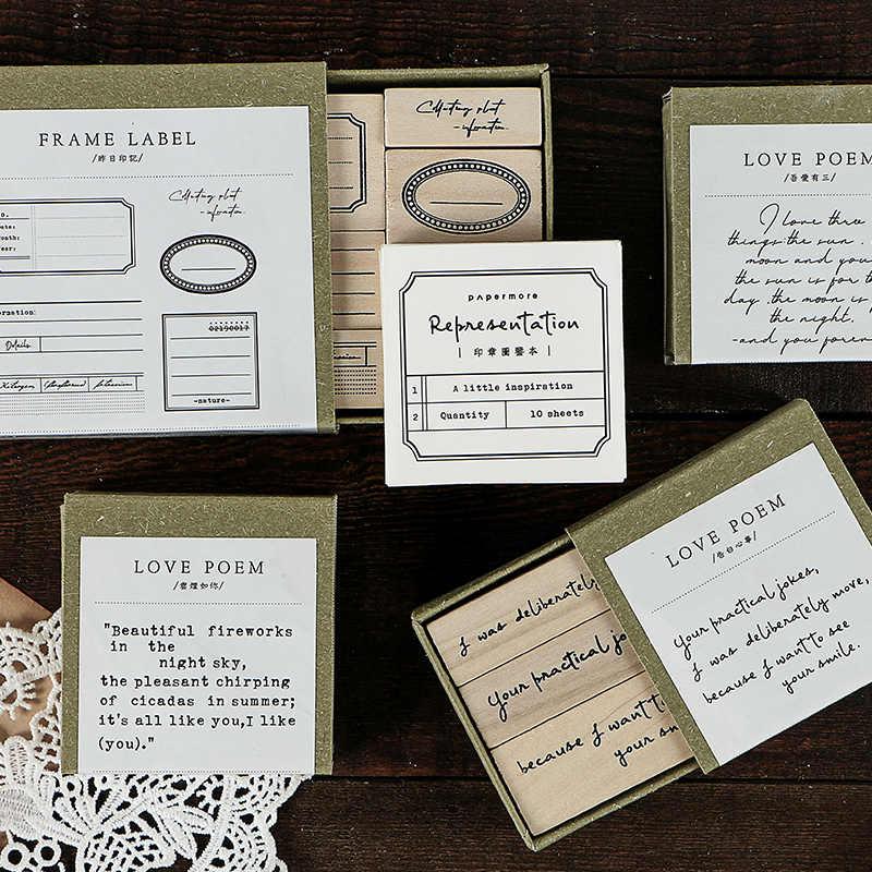 ภาษาอังกฤษ Love poem Series วินเทจแสตมป์ Journal ตกแต่งไม้แสตมป์ยางสำหรับ scrapbooking DIY CRAFT แสตมป์มาตรฐาน