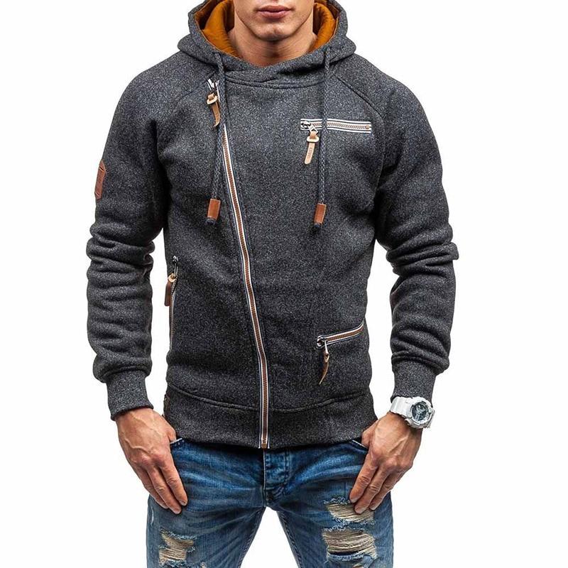 New Fashion Mens Sweater Men Zipper AutumnSolid Knitted Streetwear Mens Sweaters Winter Drawstring Casual Slim Sweaters Hip Hop