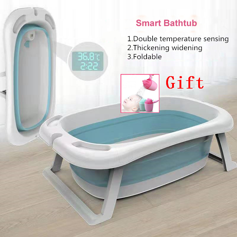Free Shipping Baby Bathtub Portable Bath Tub Sit Lie Newborn Baby Folding Tub Home Children's Bath Barrel Temperature Bathtub