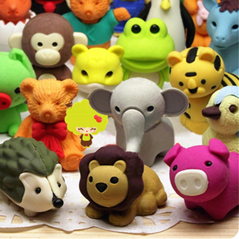 1pc Cute Animal Shaped Eraser Cartoon Design Eraser For Discount Stationery Collection Dropshipping Wholesale