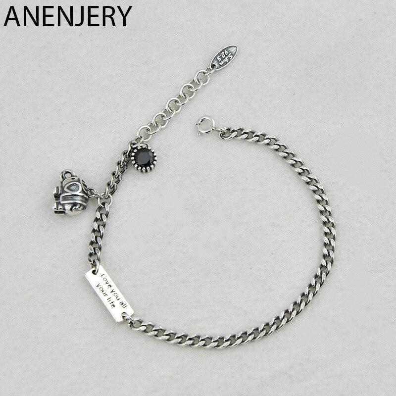ANENJERY-Bracelet éléphant, nouveau Style, cartes carrées, pour Couple, bijoux couleur argent thaïlandais, S-B416
