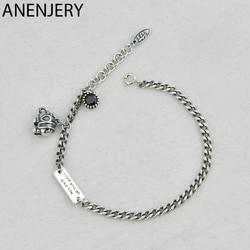 ANENJERY New Style Elephant Letter Square Card Bracelet Bangles For Women Men Couple Bracelet Thai Silver Color Jewelry S-B416