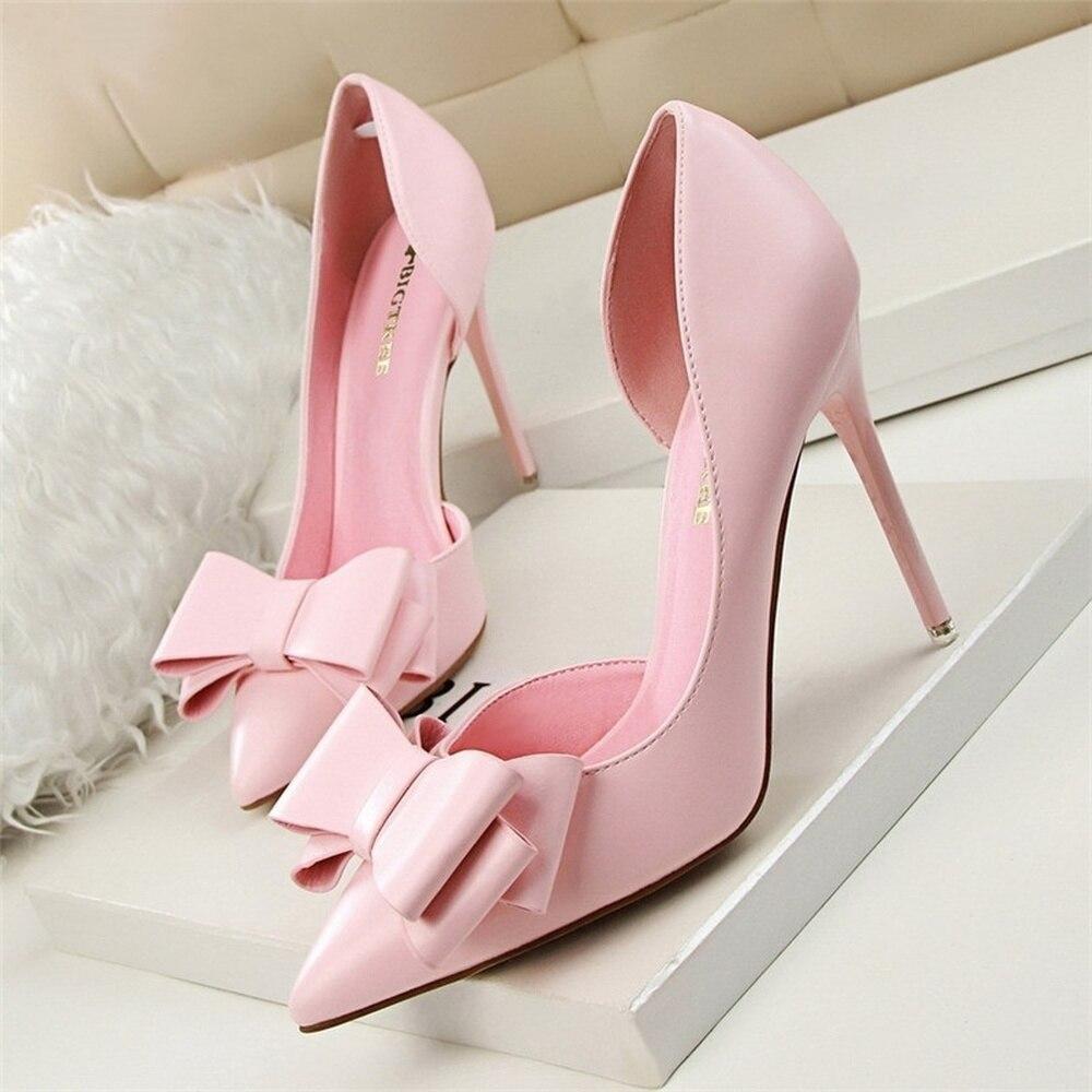 Women's Pink Heel Shoes Bow High Heels