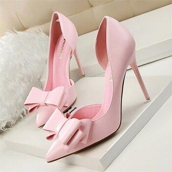 Nova Primavera Verão Mulheres Bombas Doce Bowknot Alta-Sapatos Finos Sapatos de salto alto Rosa Sapatos de Salto Alto Oco Apontou Stiletto Elegante G3168-2